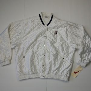 NWT Nike White Quilted Tennis Court Bomber Jacket
